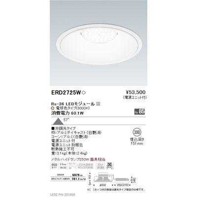 【代引手数料無料】遠藤照明 LEDZ Rs series リプレイスダウンライト ERD2725W