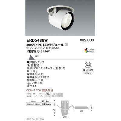 【代引手数料無料】遠藤照明 LEDZ ARCHI series ダウンスポットライト ERD5488W