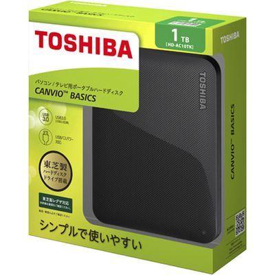 東芝コンシューママーケティング 東芝 CANVIO BASICS ポータブルハードディスク 2.5インチUSB外付けHDD(1TB) HD-AC10TK ブラック E439165H【納期目安:1週間】