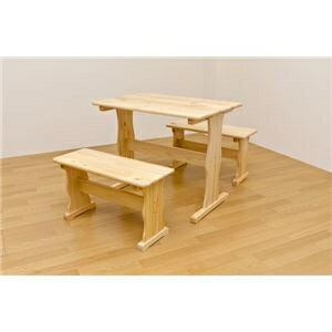 その他 テーブル&ベンチセット(テーブル&ベンチ2脚セット) 木製 木目調 ナチュラル【代引不可】 ds-1225173