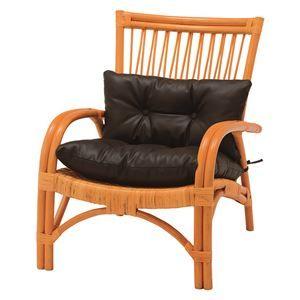 その他 アームチェア/籐椅子 肘付き 張地:合成皮革(合皮) 座面高34cm ナチュラル 【代引不可】 ds-1831903