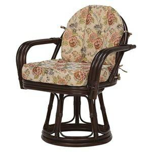 その他 回転座椅子/籐椅子 【座面高42cm】 肘付き 花柄 ダークブラウン 【代引不可】 ds-1831909