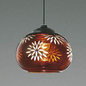 コイズミ照明 LED一体型ペンダントライト 《ameiro》 フランジタイプ 8.7W 白熱球40W相当 調光タイプ 電球色 赤色塗装切子仕上 AP43515L