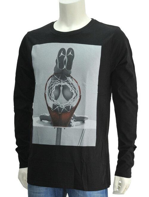 ノーコメント パリ  NO COMMENT PARIS HIPシリーズ ブラック バスケットゴールからヒップを見せるセクシープリントロンT 長袖Tシャツ フランス製