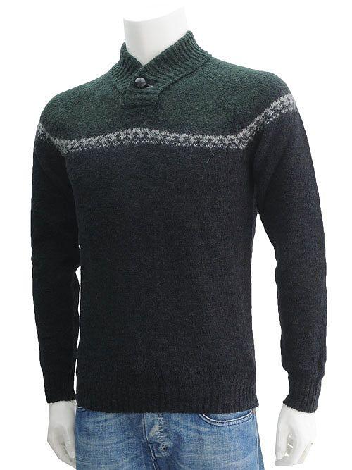 ロベルトコリーナ  roberto collina [NERO] ショールカラーのような、スタンドカラーニット グリーンカラーが挿し色にいい ロベルトコリーナのセーター メンズ