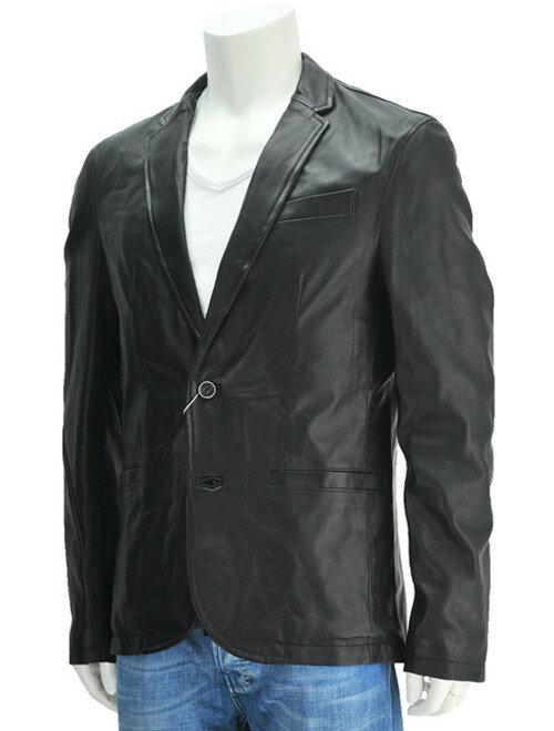 マーシャー  MUSHER  ブラックカラー 黒革 MSH53モデル ノームコア的なシンプル&エレガンス系 シープレザー2つボタンジャケット  イタリア製