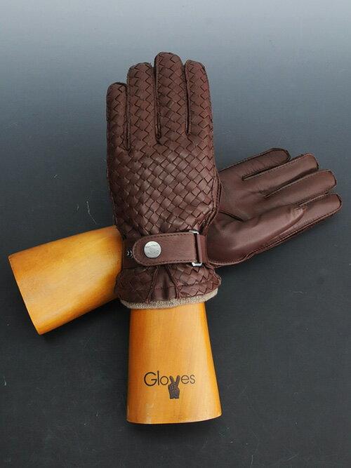 グローブス  gloves 【国内正規品】チョコレート ブラウン 茶 ラムレザーの高級感を楽しむ カシミアライナー イタリア製 編み込み レザーグローブ 手袋 ギフト 男女兼用 イントレチャート