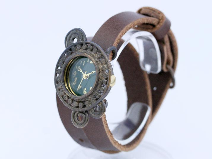 送料無料 Y panna N (パンナ green 二重巻き)手作り時計