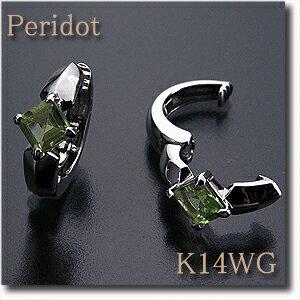 イヤリング ピアリング ペリドット K14WG(ホワイトゴールド) 【8月誕生石】【送料無料】k14/14金 10P03Dec16