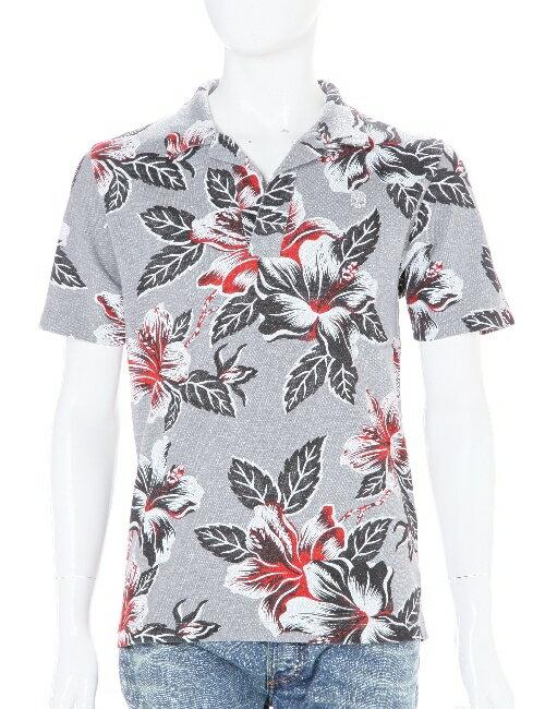 ハイドロゲン HYDROGEN ポロシャツ 半袖 メンズ 160003 RED FLOWERS GREY 3000円OFF クーポンプレゼント HYD底値挑戦