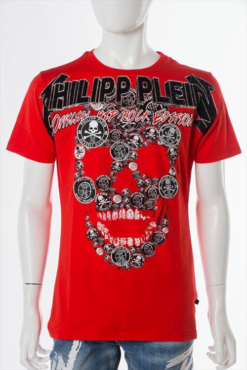 フィリッププレイン PHILIPP PLEIN Tシャツ 半袖 丸首 メンズ SS16 HM342545 レッド 送料無料 楽ギフ_包装 3000円OFF クーポンプレゼント 一押値下