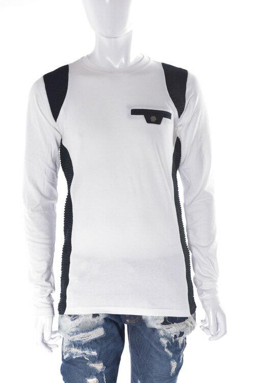 フィリッププレイン PHILIPP PLEIN ロングTシャツ ロンT 長袖 丸首 t-shirt three times メンズ FW16 HM331032 ホワイト×ブラック 送料無料 楽ギフ_包装 3000円OFF クーポンプレゼント