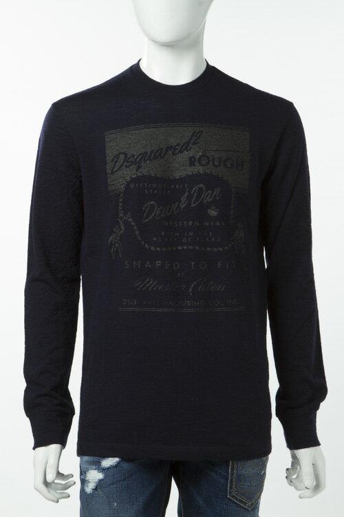 ディースクエアード DSQUARED2 ロングTシャツ ロンT 長袖 丸首 メンズ S71GD0267S22616 ネイビー 送料無料 楽ギフ_包装 3000円OFF クーポンプレゼント