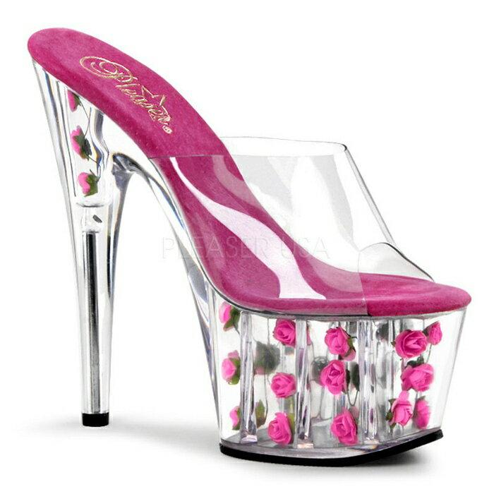 取寄せ靴 新品 ソールにかわいい薔薇入り 厚底ミュールサンダル 17.5cmピンヒール クリアホットピンク Pleaserプリーザー 大きいサイズあり 行事 式 女装 男装 パーティ- LGBTファッション