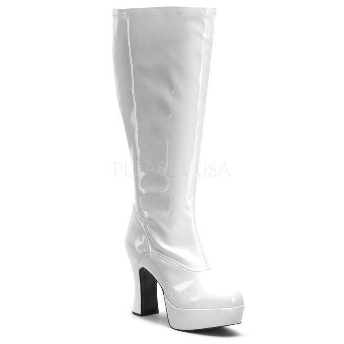 取寄せ靴 ワイドな筒周り コスプレ系 厚底ロングブーツ サイドジッパー付き 10cmチャンキーヒール 白ホワイトエナメル FUNTAZMAファンタズマ 大きいサイズあり イベント 仮装 女装 男装 パーティ- LGBTファッション