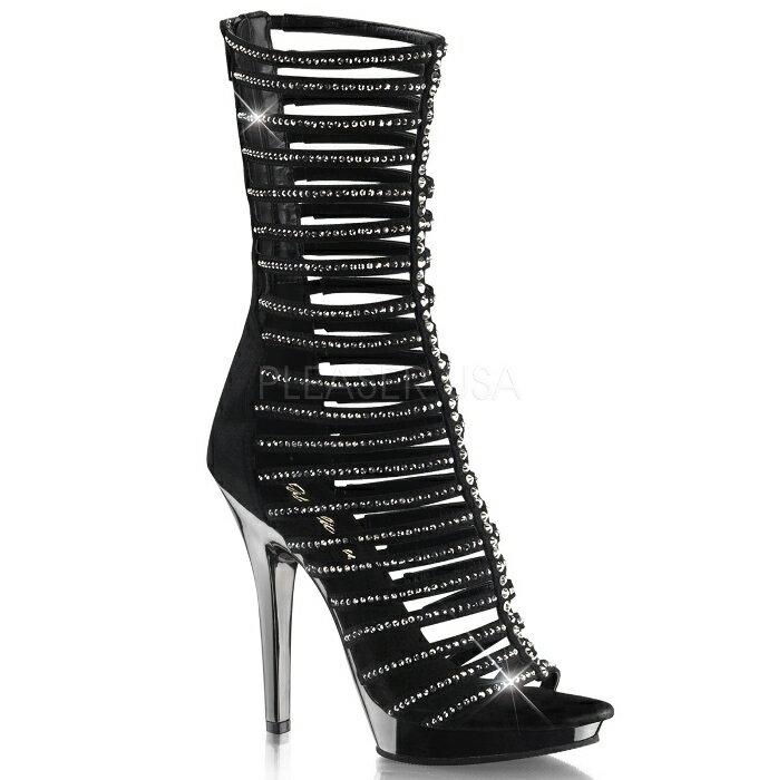 取寄せ靴 多数のきらきらラインストーン付きストラップ バックジッパー付き 薄厚底ブーティーサンダル 12.5cmヒール 黒ブラックスエードピュータークロム Pleaserプリーザー 大きいサイズあり イベント 仮装 女装 男装 パーティ- LGBTファッション