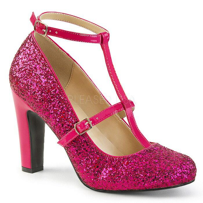 取寄せ靴 新品 キラキララメ アンクルベルト ラウンドトゥ パンプス 10cmヒール ホットピンク グリッター 大きいサイズあり 行事 式 女装 男装 パーティ- LGBTファッション