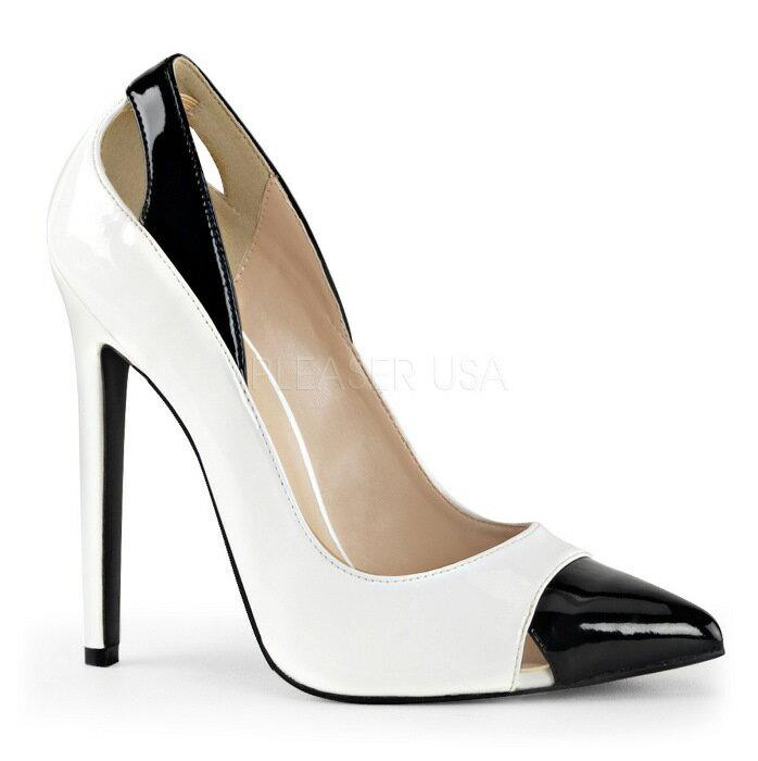 在庫処分 新品即納 21.5cm 22cm ポインテッドトゥ 人気のバイカラー ハイヒールパンプス 12.5cmヒール 白 ホワイト 黒 ブラック エナメル 行事 式 女装 男装 パーティ- LGBTファッション