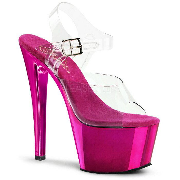 取寄せ靴 衣装靴 ベルト付き メタリック厚底サンダル 17.5cmピンヒール クリアホットピンククロム Pleaserプリーザー 大きいサイズあり イベント 仮装 女装 男装 パーティ- LGBTファッション