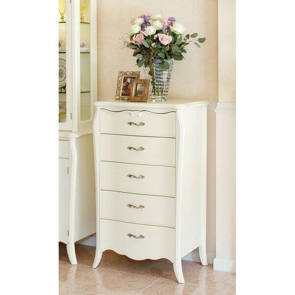 エレガントラインホワイト家具シリーズ ハイチェスト・幅60cm