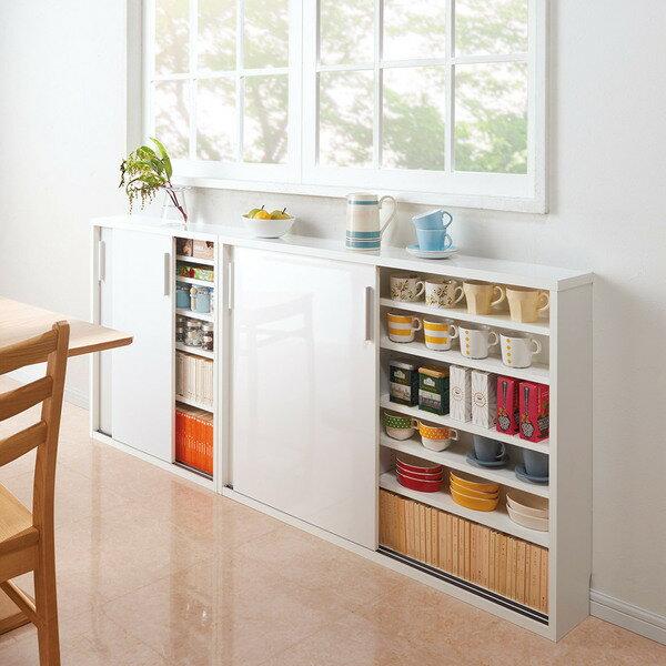 超薄型キッチン引き戸収納庫 ロータイプ幅75奥行18高さ85cm