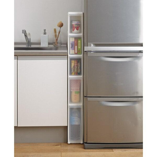 幅わずか14cm! 樹脂製 キッチン スリムストッカー 5段 高さ120cm