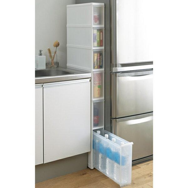 幅わずか14cm! 樹脂製 キッチン スリムストッカー 6段 高さ145cm