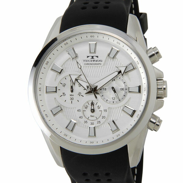 【お取り寄せ】テクノス(TECHNOS)(国内正規代理店品)メンズ  腕時計 クロノグラフ 24時間計 10気圧防水 ラバーベルト シルバー |T6396SS