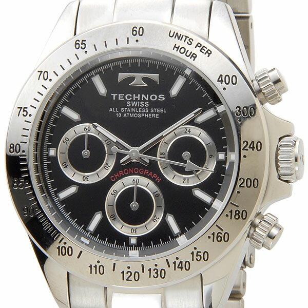 【お取り寄せ】テクノス(TECHNOS)(国内正規代理店品)メンズ  腕時計 クロノグラフ クォーツ ブラック×シルバー|TGM615SB