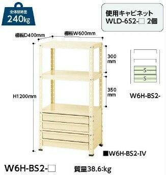 【ポイント5倍】 【代引不可】 山金工業 ヤマテック ワゴン W6H-BS2-IV 【メーカー直送品】