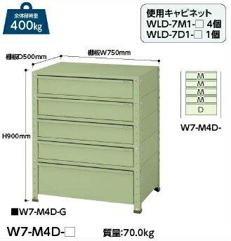 【ポイント10倍】 【代引不可】 山金工業 ヤマテック ワゴン W7-M4D-G 【メーカー直送品】