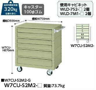 【代引不可】 山金工業 ヤマテック ワゴン W7CU-S2M2-G 【メーカー直送品】