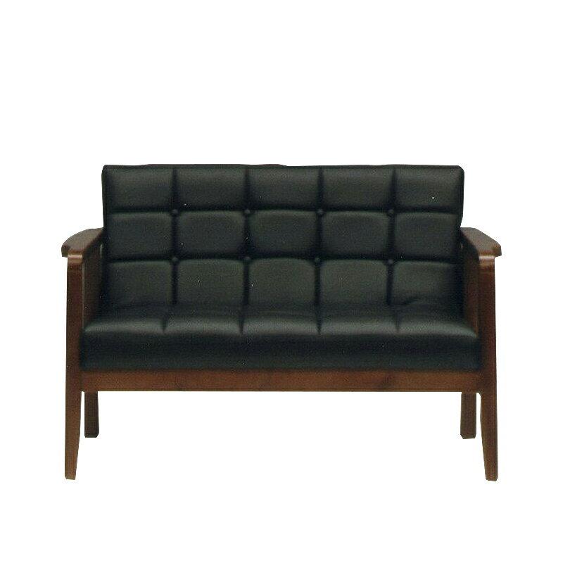 ソファー 2人掛けソファー 2人用ソファー 二人掛け 二人用 ブラック 黒 合皮製 レトロモダン風 そふぁー