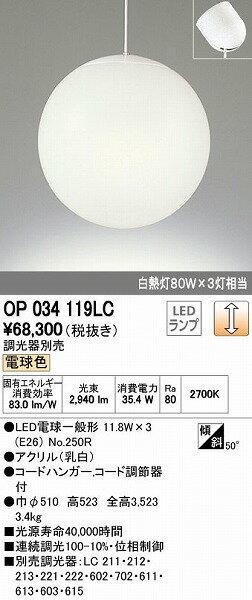 OP034119LC オーデリック ペンダント LED(電球色)