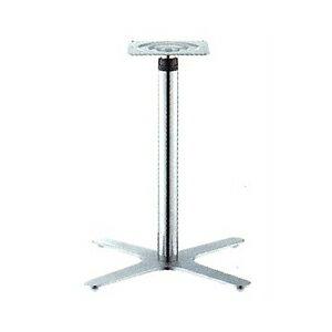 ラチェット昇降式テーブル脚 エリアSC2550 ベース400x400 パイプ60.5φ 受座240x240 ショットクローム AJ付 高さ570mm~870mm