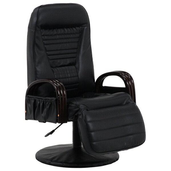 【回転座椅子(ブラック) LZ-4129BK】[返品・交換・キャンセル不可]
