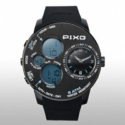 【PIXO 腕時計PIXO-5 BLACK+BLUE】飛行機の操作パネルから得たインスピレーションアウトドアに適した堅牢なデザイン[返品・交換・キャンセル不可]