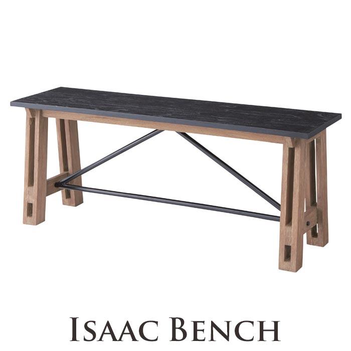 《東谷》isaac アイザック ベンチ 幅115cm ダイニングチェア 椅子 いす 背もたれ無しシンプル モダンシック 天然木 ミンディ使用 木製 お洒落 スチール インダストリアル 西海岸 cafe カフェスタイル nw-854b