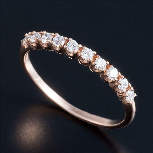 レビュー投稿で次回使える2000円クーポン全員にプレゼント 直送 K10ピンクゴールド 0.2ctハーフエタニティリング 11号 ファッション リング・指輪 天然石 ダイヤモンド