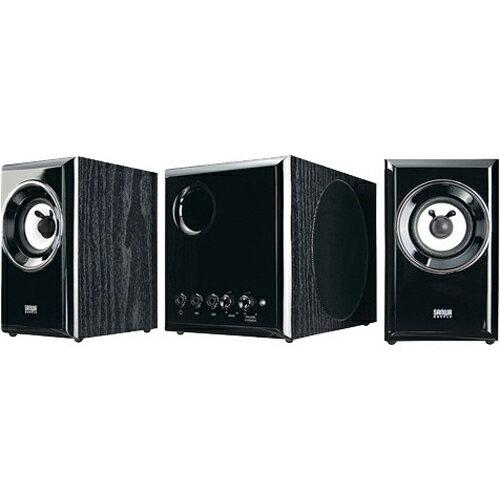 家電 オーディオ機器 スピーカー サンワサプライ 木製2.1chマルチメディアスピーカー ブラック MM-SPWD3BKN