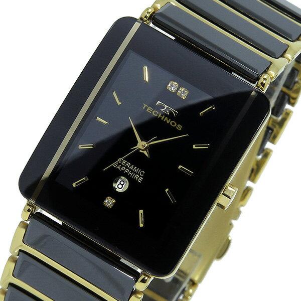 レビュー投稿で次回使える2000円クーポン全員にプレゼント 直送 テクノス TECHNOS クオーツ メンズ 腕時計 T9137GB ブラック/ゴールド 【腕時計 低価格帯ウォッチ】