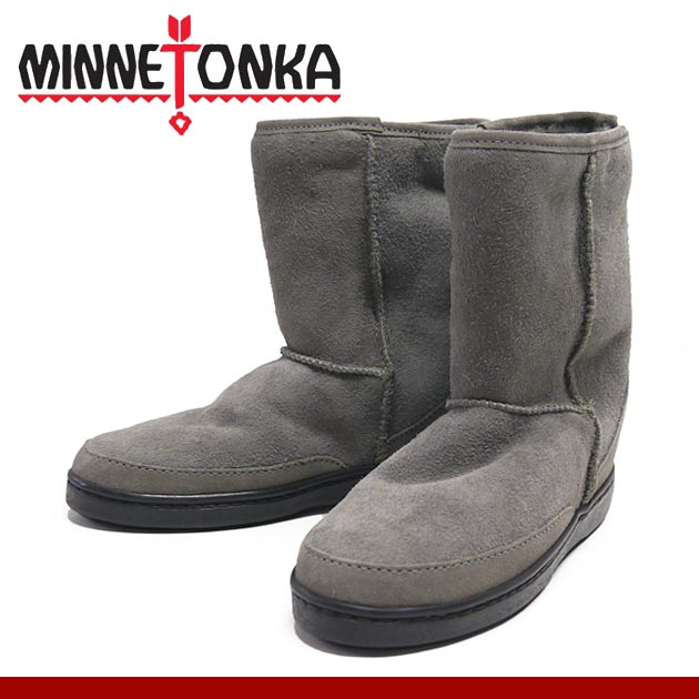 ミネトンカ MINNETONKA ブーツ 靴 ムートン レザー ショート シープスキン パグ Short Sheepskin Pug Boot 3571t Gray グレー