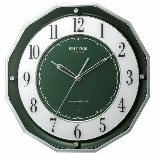 リズム時計 4MY846SR05(緑メタリック) スリーウェイブM846 高感度電波掛け時計