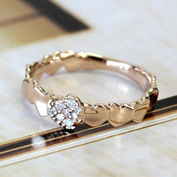 ハートが連なったフェミニンな ダイヤモンド リング 0.06ct【エクセレンテマンスリーコレクション】