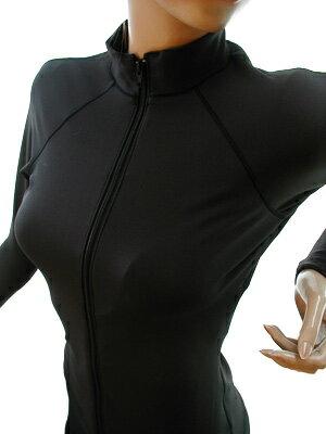 【ドライターボ】新エコ素材!UV&速乾*オープンファスナー長袖水着 【ブラック×ブラック】