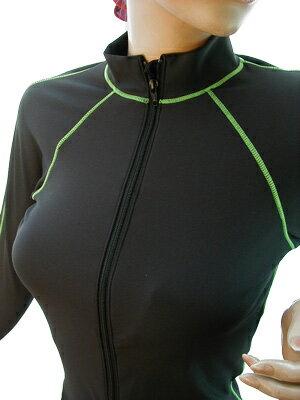 【ドライターボ】新エコ素材!UV&速乾*オープンファスナー長袖水着 【ブラック×グリーン】
