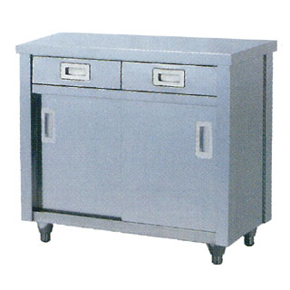 【業務用】調理台 業務用ステンレス製両面抽出引違戸式調理台 TWD型 TWD-1290 1200×900×800【 メーカー直送/代引不可 】