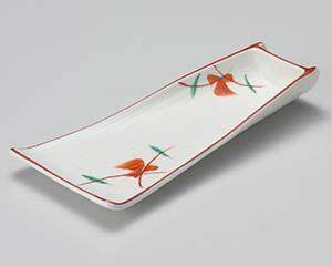 【まとめ買い10個セット品】和食器 ア011-086 赤絵竹型向付 【キャンセル/返品不可】【ECJ】