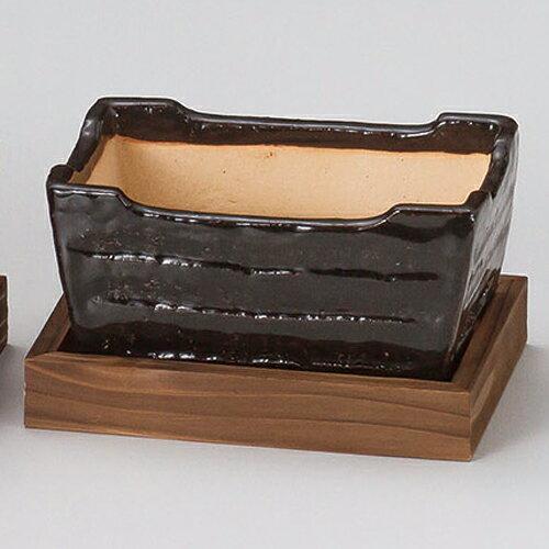 和食器 メ412-286 黒楽長角コンロ(敷板付) 【キャンセル/返品不可】【ECJ】