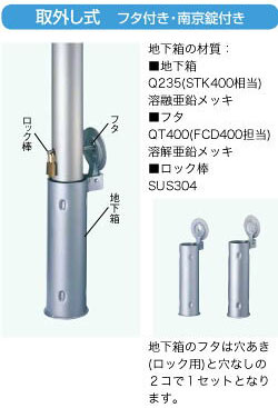LIXIL スペースガード(ステンレス) U48型 取外し式 フタ付き・南京錠付き LNT07+LNY02【送料無料】